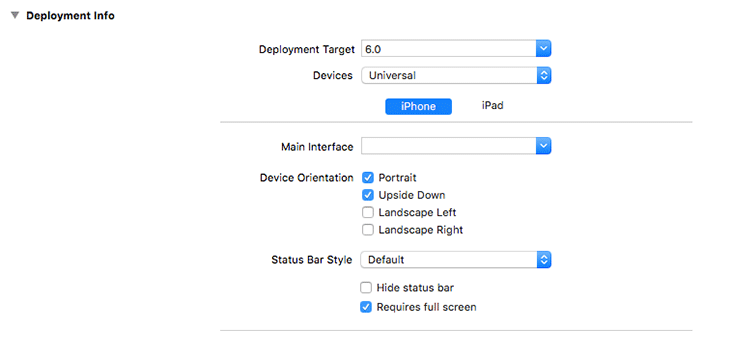 Xcode project targets settings with Requires full secreen option selected